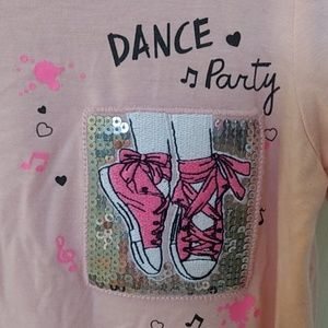 Justice Dance Party Tshirt Girls Size 8 Pink